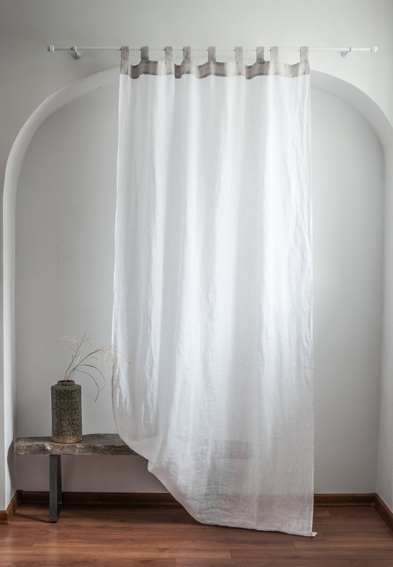 Tab Top Sheer Linen Curtain Panel, Window Treatments in Modern Style, White  Linen Drapes, Living Room Window Treatments in Simple Style,