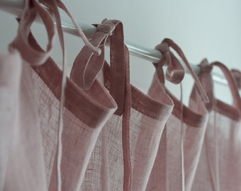 Sheer Linen Curtain Panel in Pink Color, Tie Top Linen Curtain, Transparent Tie Top Pink Linen Curtain, Linen Tie Top Curtain, Linen Drapes