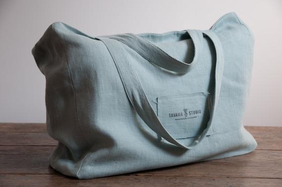fc2367d5f Light roomy linen tote bag in green large shoulder canvas | Etsy