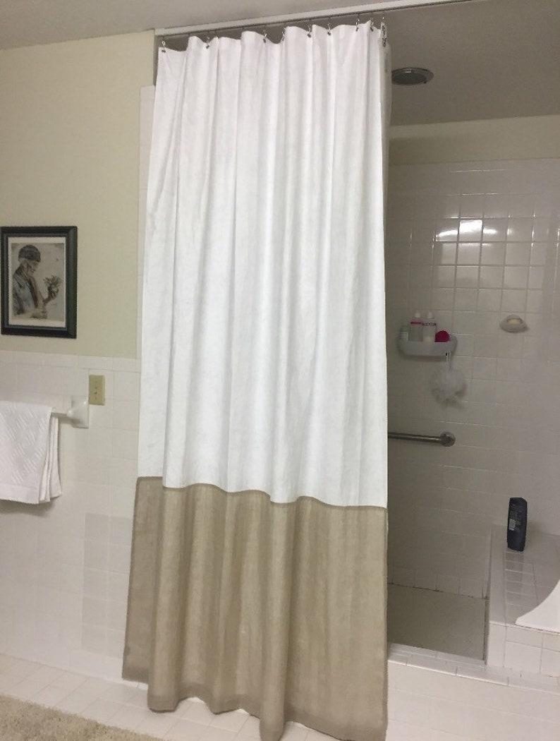 White Shower Curtain Modern Bathroom Decor Minimalist