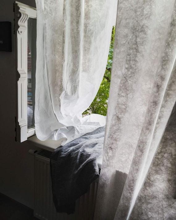 rideaux blanc l ger dans le style scandinave minces rideaux etsy. Black Bedroom Furniture Sets. Home Design Ideas