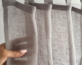 Tab Top Sheer Curtains, Sheer Linen Curtains, Light Grey Linen Curtain Panel, Tab Top Muslin Curtain for Living Room, Tab Top Canopy Bed