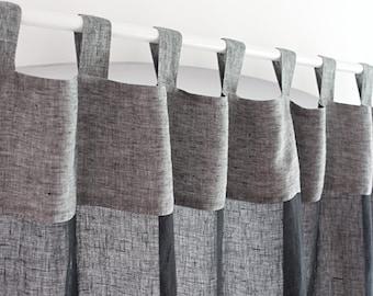 Black Sheer Linen Curtains, Long Linen Curtain Panel, Tab Top Muslin Curtain Panels, Lightweight Linen Drape to Living Room, Gauze Panel