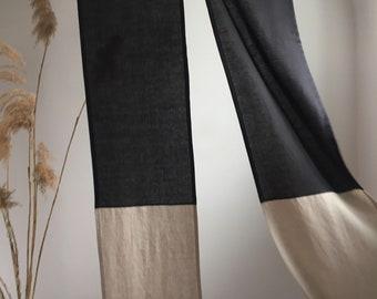 Dark Linen Noren, Double Color Room Divider, Apartment Linen Room Divider, Linen Doorway Curtains, High Quality Linen Japanische Noren Panel
