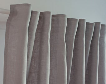 Heavy Linen Curtains in Light Grey Color, Heavy Washed Linen Curtains, Rustic Linen Curtain, Tape Grey Burlap Curtain Panel, Burlap Curtain