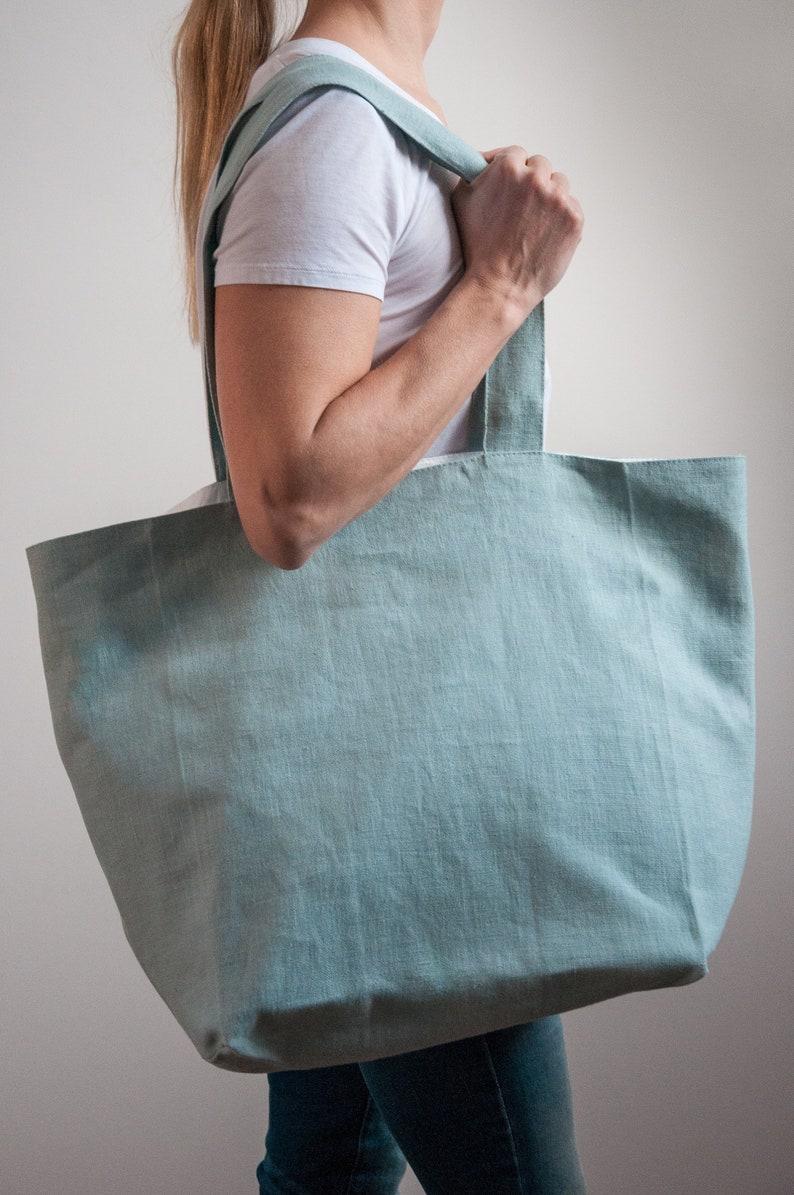 Tote Bag With Pocket Fabric Tote Bag Tyvek Tote Bag Green Shoulder Bag Double- Sided Canvas Tote Bag Minimal Tote Bag Beach Big Bag