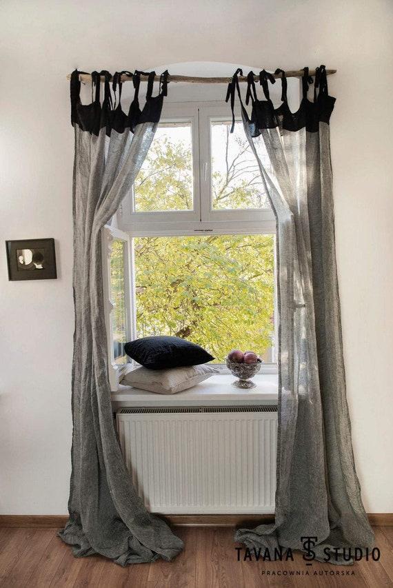 Tende di puro lino, lino tende, Cafe tende, tende cucina, tende camera da  letto, tenda personalizzata pannelli, pannelli finestra puro lino,