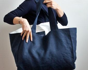 Navy Linen Tote Bag, Large Linen Shoulder Bag, Tyvek Tote Linen in Navy Color, Big lLinen Canvas Bags, Burlap Tote Bag, Linen Beach Bag