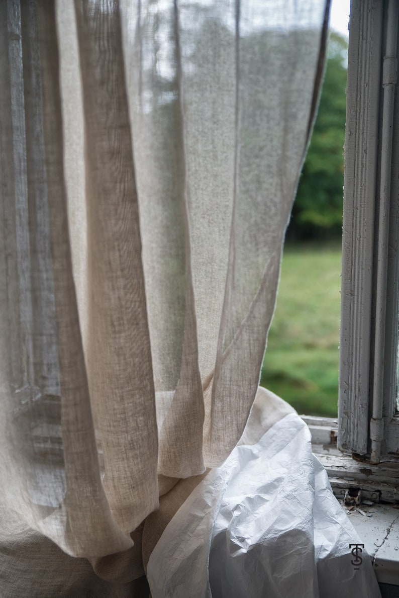 Sheer Natural Linen Curtain Panels In Rustic Style Etsy