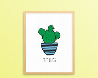 Printable Wall Print - Hand Drawn - Cactus - Free Hugs - Colorful Art//Drawing - Hand Drawn - Wall Print - Digital Download - Succulent