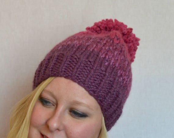 Rose Hat in Fig and Raspberry Knitted Fair Isle Ombre Hat