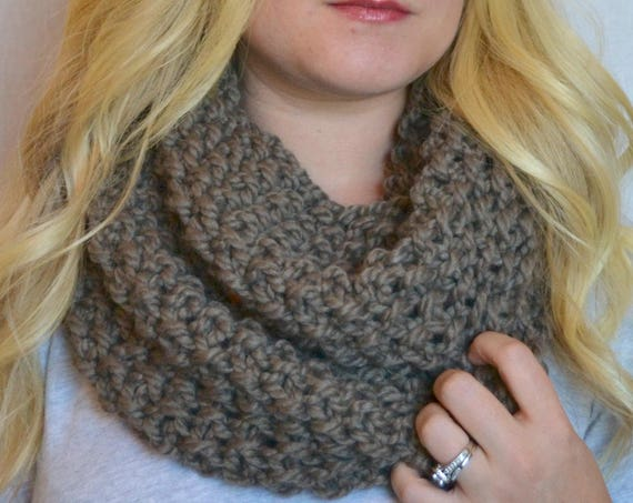 Penny Cowl in Taupe Knitted Infinity Scarf