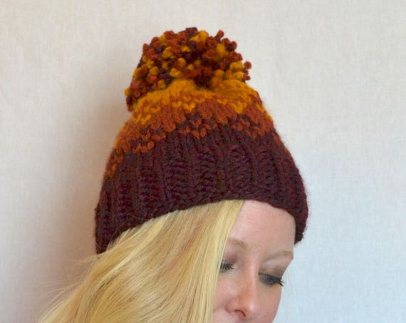 Rose Hat in Fall Colors Knitted Fair Isle Ombre Hat