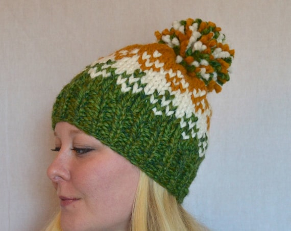 River Fair Isle Knitted Hat in Green Bay Packer Colors with Large Pom Pom