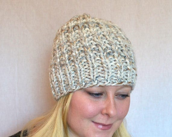Chandler Knitted Hat in Fossil Broken Rib Stitch Knit Beanie