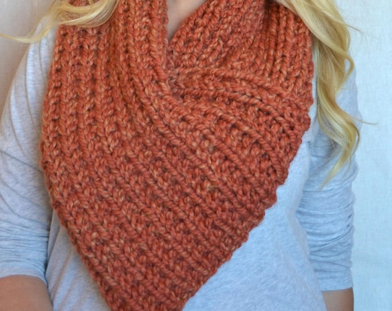 Howard Cowl in Tangerine Triangle 3 Way Knitted Cowl Scarf