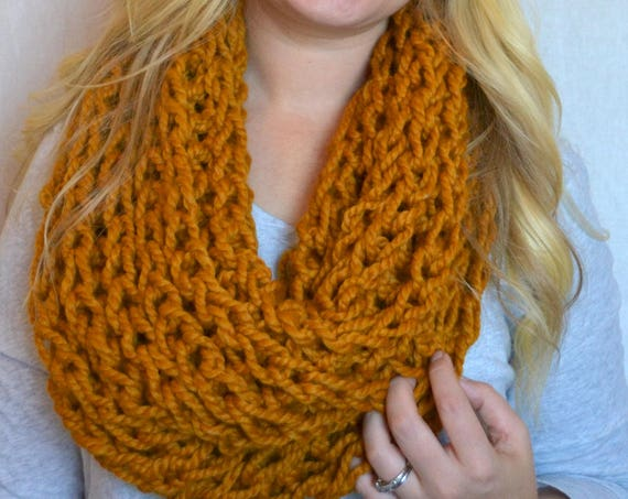 Leonard Cowl in Butterscotch Knitted Cowl Infinity Scarf