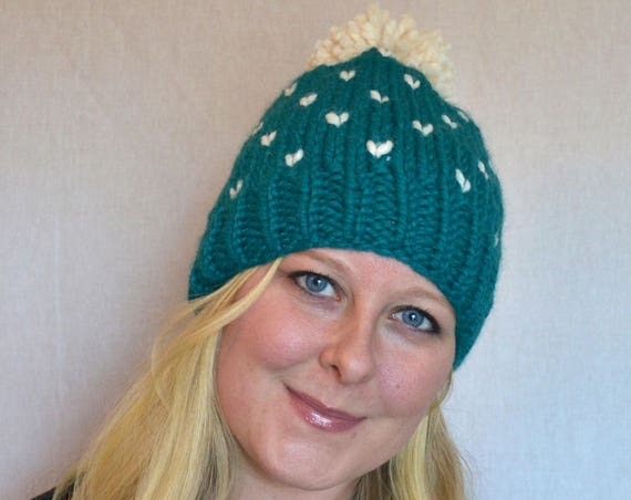 Rose Hat in Peacock Knitted Hat with Large Pom Pom