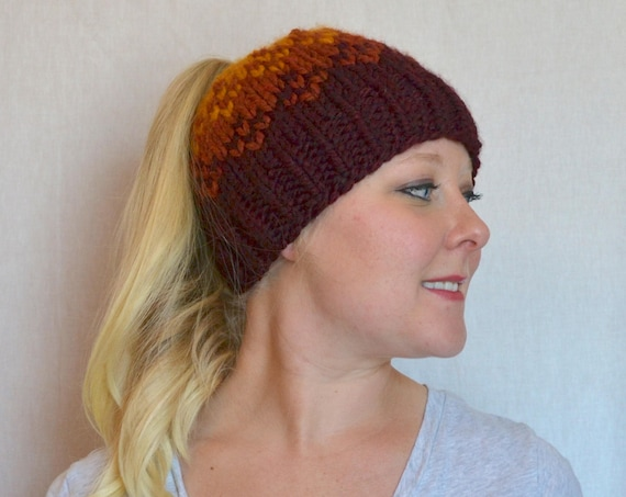 Rose Top Knot Ponytail Hat Knitted Fair Isle Ombre Hat