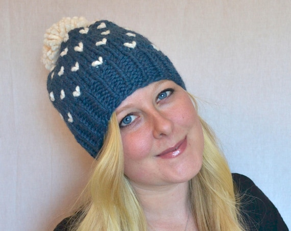 Rose Hat in Denim Knitted Hat with Large Pom Pom