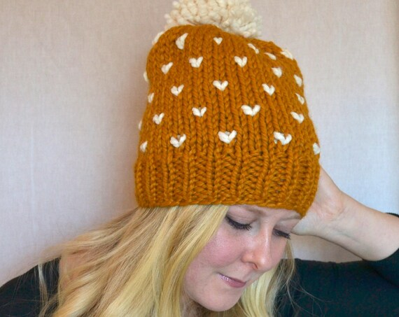Rose Hat in Butterscotch Knitted Hat with Large Pom Pom