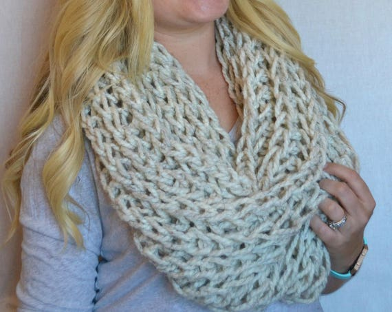 Leonard Cowl in Wheat Knitted Cowl Infinity Scarf