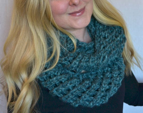 Bernadette Infinity Scarf in Blueberry Handmade Knitted Cowl