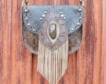 Chocolate Brown Leather Fringe Bag - Natural Crystal Boho Fringe Purse - Tribal Leather Hippie Purse - Gypsy Saddlebag - Cross Body Bag