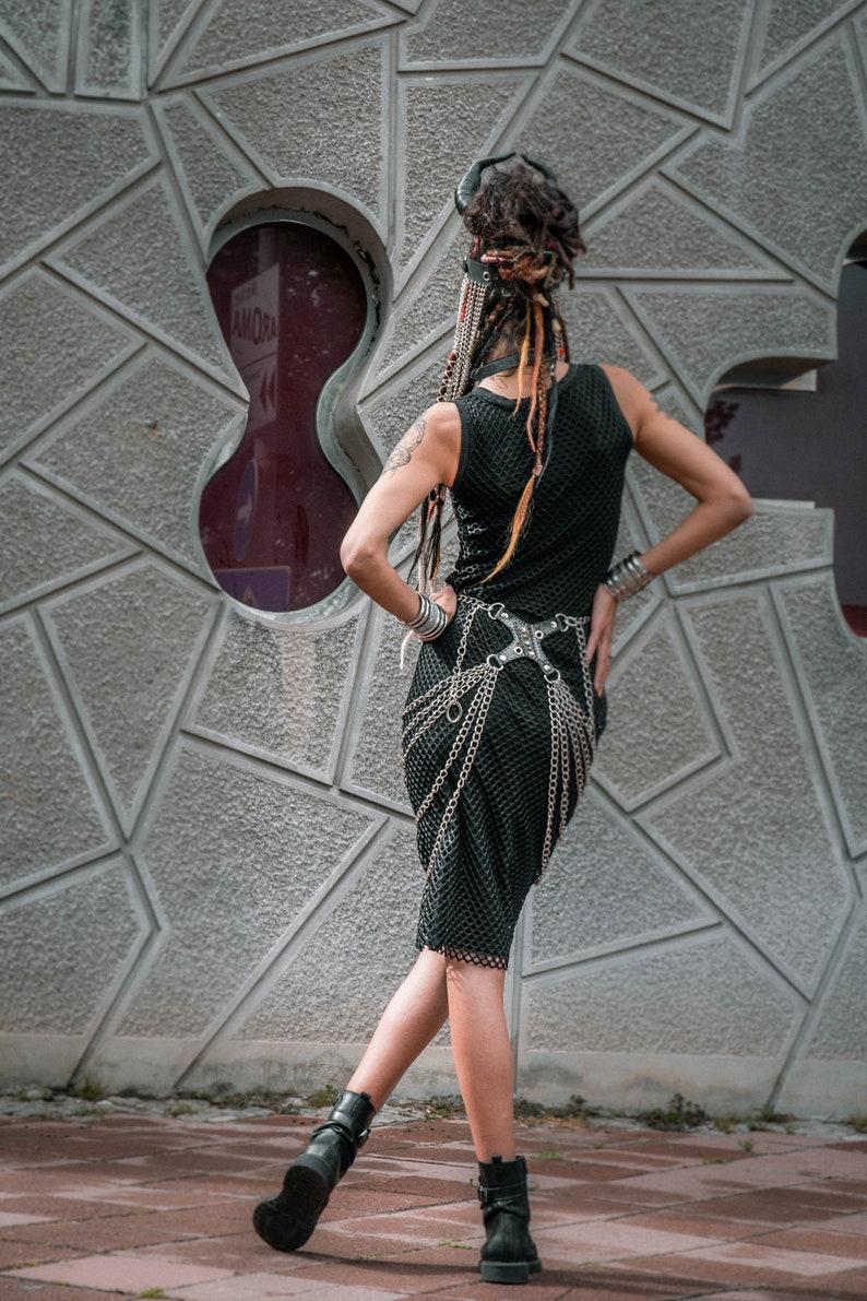 Metal Chain Skirt Festival Post Apocalyptic Skirt Harness O-Ring Skirt