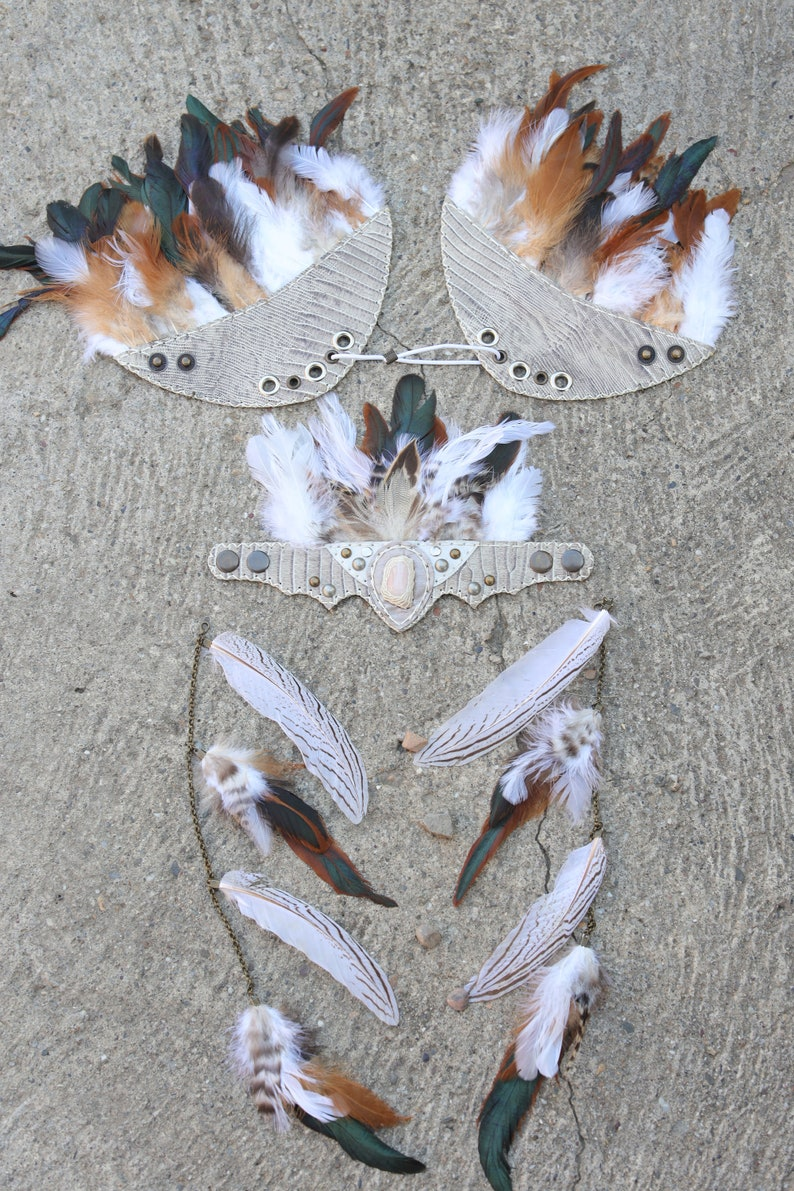 Festival Costume Headdress Pagan Witch Halloween  Crown Elven Forest Fairy Feather Headdress