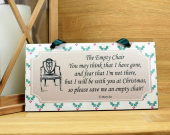 The Empty Chair By Mary Jac Christmas Remembrance Plaque 688