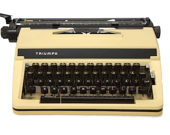 Vintage Office Typewriter, 1970s Retro Triumph Gabrielle Working Manual Automatic Typewriter with Wide Carriage
