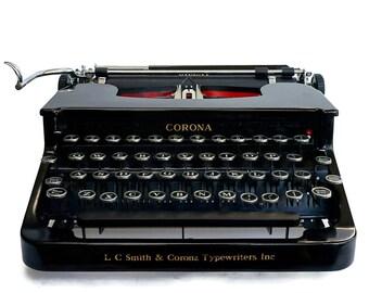 Rare 1930s Corona Typewriter, Classic Black Manual Silent 1S Working Typewriter