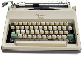 Working Typewriter, Vintage Olympia Monica manual typewriter, Portable, Working German Typewriter with case,