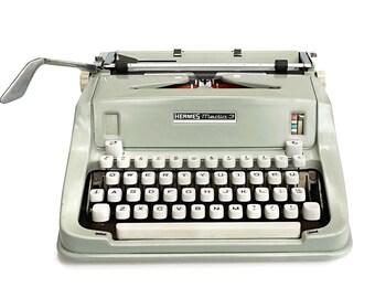Hermes Typewriter, Hermes Media 3 Portable Typewriter, Sea Green with white keys, Manual typewriter industrial style vintage typewriter