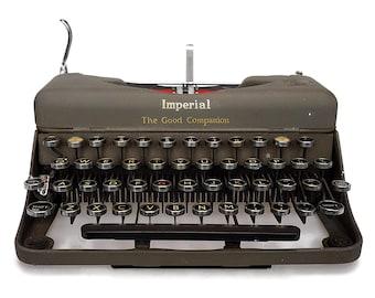 Typewriter 1950s Working Vintage Classic Typewriter, Good Companion Imperial Typewriter in Original Dark Olive Green Crinkle Finish