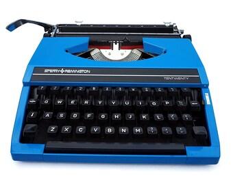 Retro Typewriter, Bright Blue Remington Typewriter, Portable Typewriter, Working Typewriter,