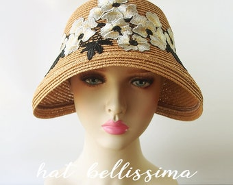 f5c95d046c506b SALE 1920's Vintage Style straw hat Summer hat hatbellissima millinery cloche  Hats