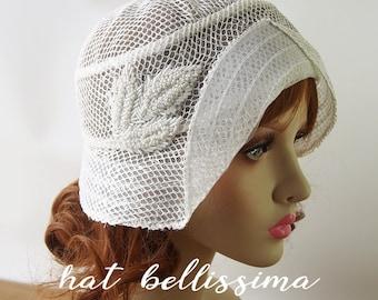 SALE 1920s Cloche Hat Lace fabric Vintage Style hat hatbellissima Summer  Hats a080d735814