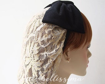 SALE black and Ivory 1940 s snood Women s hat hatbellissima 05e7a9288be