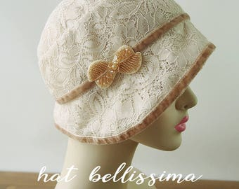 SALE 1920s Cloche Hat Lace fabric Vintage Style hat hatbellissima Summer  Hats 23806846b6e