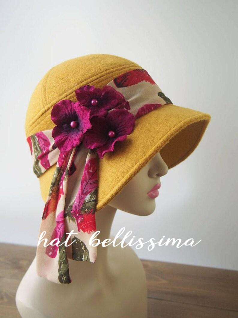 52ca1d14014 SALE yellow 1920 s Hat Vintage Style hat winter Hats