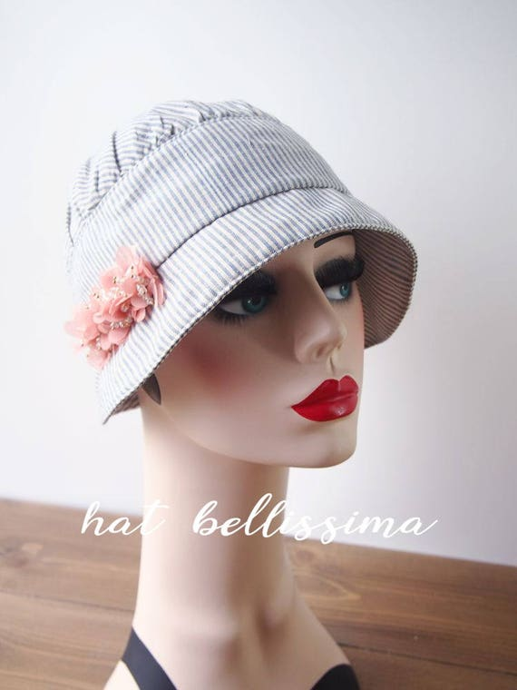 ad2af137b SALE 1920s style Summer Hat Blue and white striped hat handmade