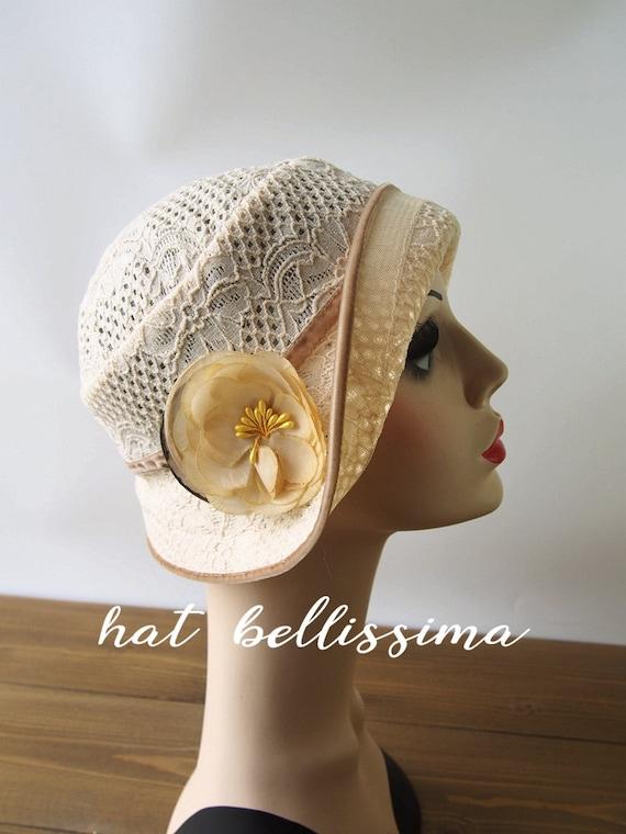 SALE 1920s Cloche Hat Lace fabric Vintage Style hat  17ffe796764
