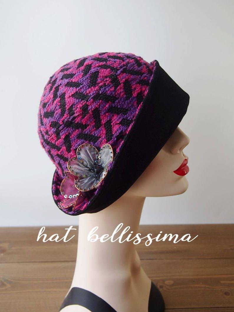 84e45e6bb52 SALE purple 1920 s Hat Vintage Style hat winter Hats