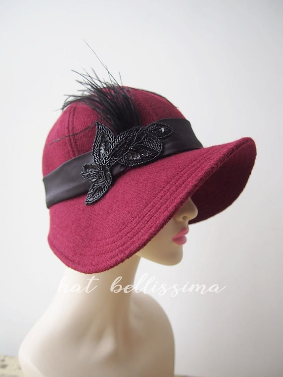 SALE deep red 1920 s Hat Vintage Style hat winter Hats  c2b4ae6b367