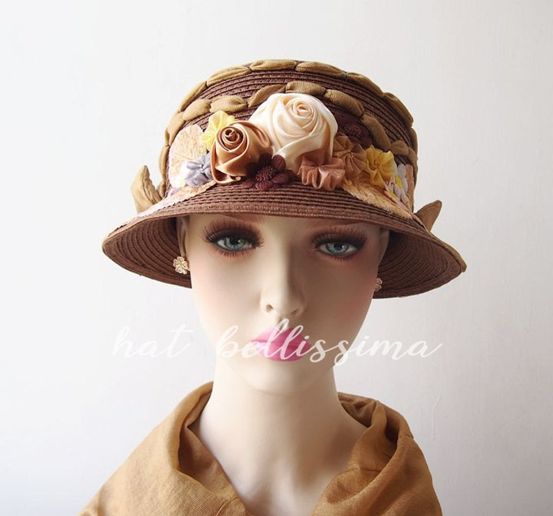 df123b7ec4232f SALE brown 1920's Vintage Style straw hat Summer hat | Etsy