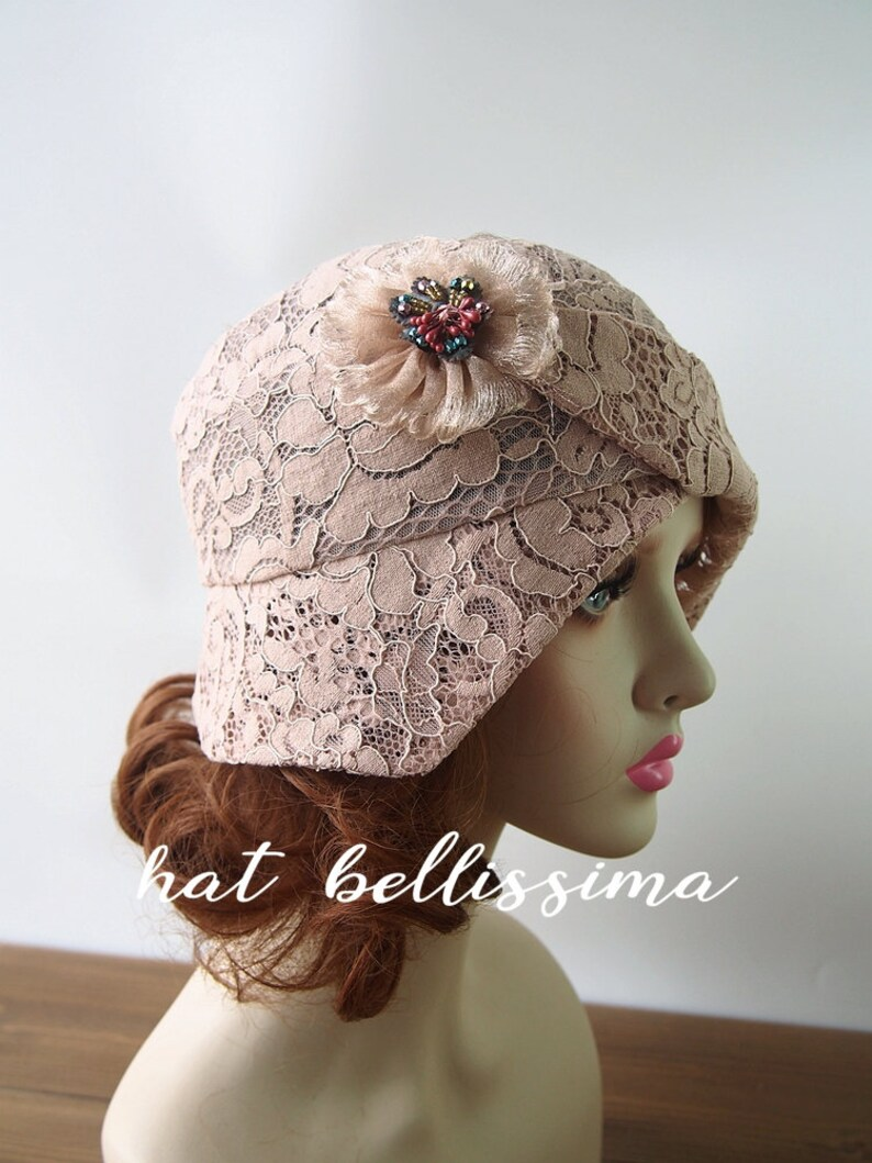 72b490879 SALE 1920s Cloche Hat flowers cotton Lace fabric Vintage Style hat  hatbellissima Summer Hats
