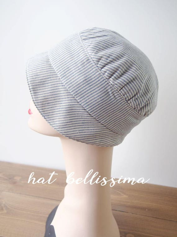 f4744bb11 SALE 1920s style Summer Hat Blue and white striped hat handmade