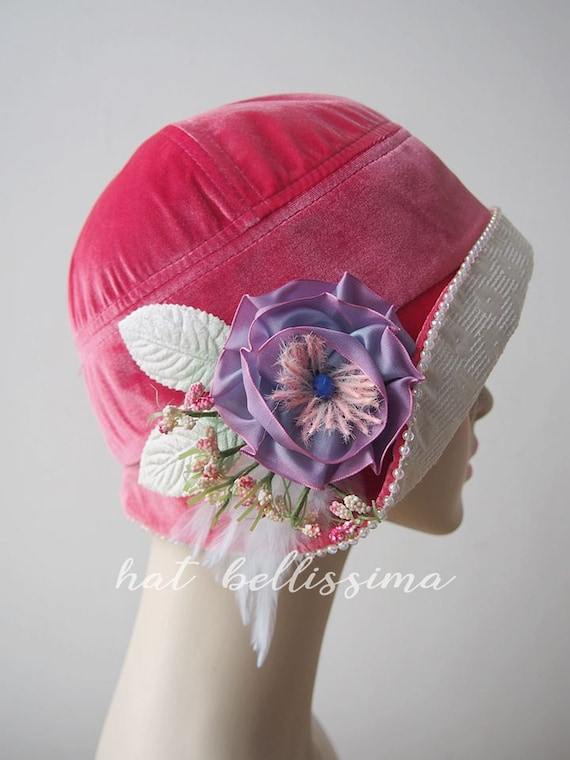 6e879bd5de1 SALE pink 1920 s Cloche Hat Vintage Style hat winter Hats
